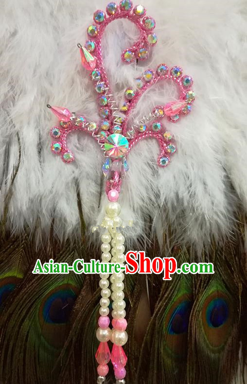 Chinese Traditional Beijing Opera Hair Accessories Peking Opera Beads Tassel Pink Phoenix Hairpins for Adults