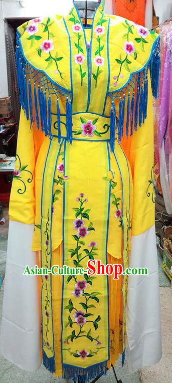 Chinese Traditional Beijing Opera Young Lady Costume Peking Opera Diva Yellow Dress for Adults