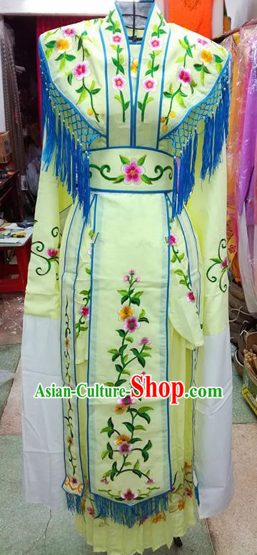 Chinese Traditional Beijing Opera Young Lady Costume Peking Opera Diva Light Yellow Dress for Adults