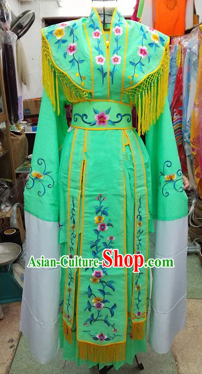 Chinese Traditional Beijing Opera Young Lady Costume Peking Opera Diva Green Dress for Adults