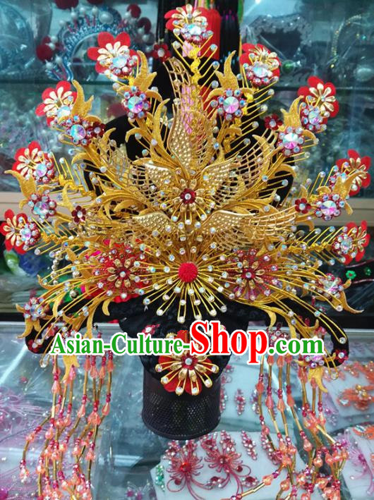 Chinese Traditional Beijing Opera Actress Golden Phoenix Coronet Head Ornaments Hair Accessories for Adults