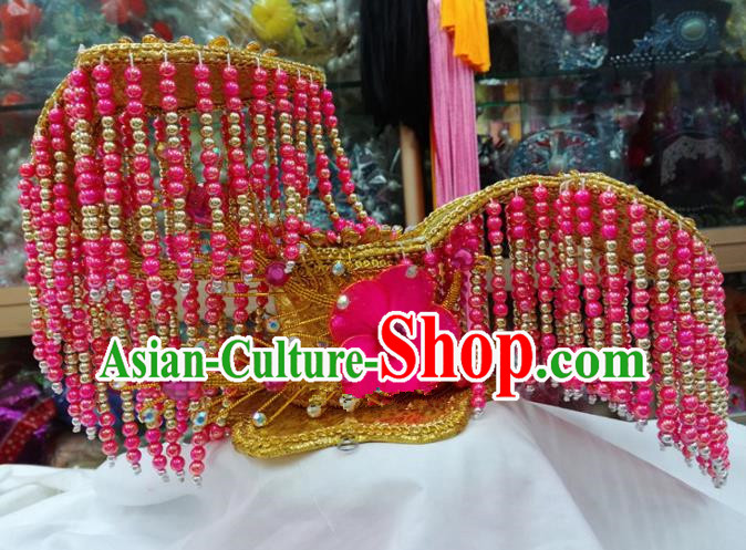 Chinese Traditional Beijing Opera Imperial Consort Head Ornaments Pink Beads Tassel Hat Hair Accessories for Adults