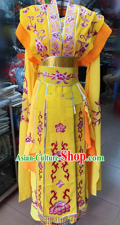 Chinese Traditional Beijing Opera Nobility Lady Yellow Dress Peking Opera Actress Costume for Adults