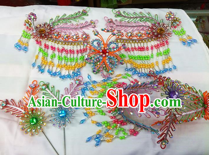 Chinese Traditional Beijing Opera Colorful Phoenix Head Ornaments Hairpins Hair Accessories for Adults