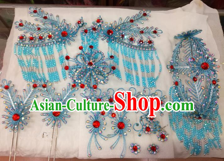 Chinese Traditional Beijing Opera Blue Phoenix Head Ornaments Hairpins Hair Accessories for Adults