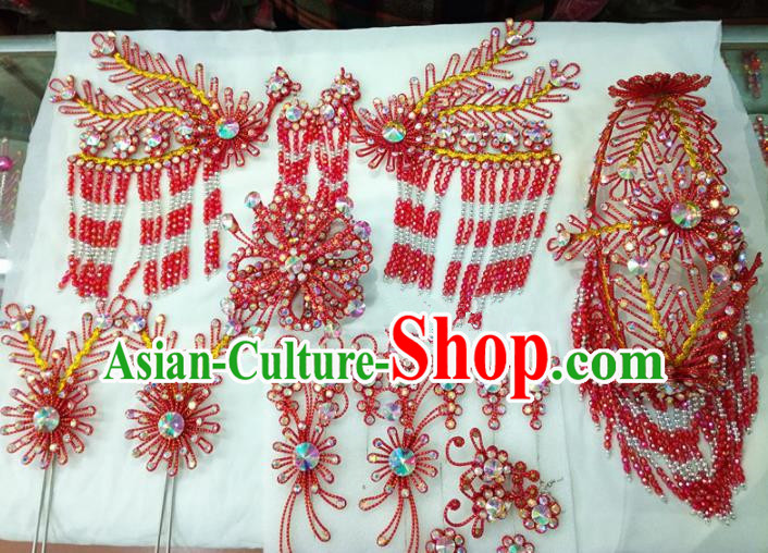 Chinese Traditional Beijing Opera Red Phoenix Head Ornaments Hairpins Hair Accessories for Adults