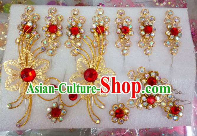 Chinese Traditional Beijing Opera Actress Crystal Golden Hairpins Hair Accessories for Adults