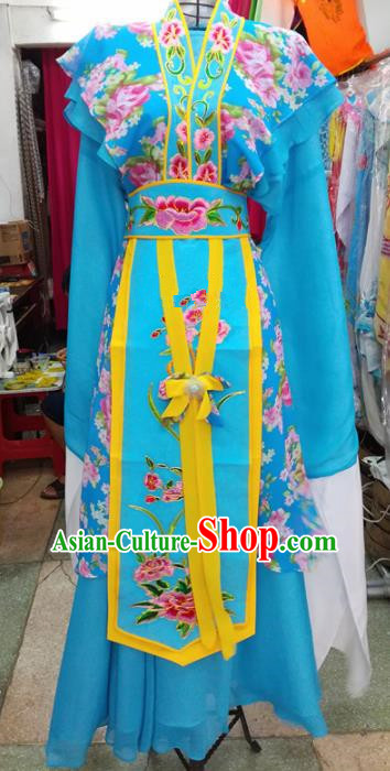 Chinese Traditional Beijing Opera Blue Dress Peking Opera Actress Water Sleeve Costume for Adults