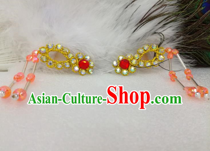 Chinese Traditional Beijing Opera Actress Hair Accessories Ancient Princess Golden Hairpins for Adults