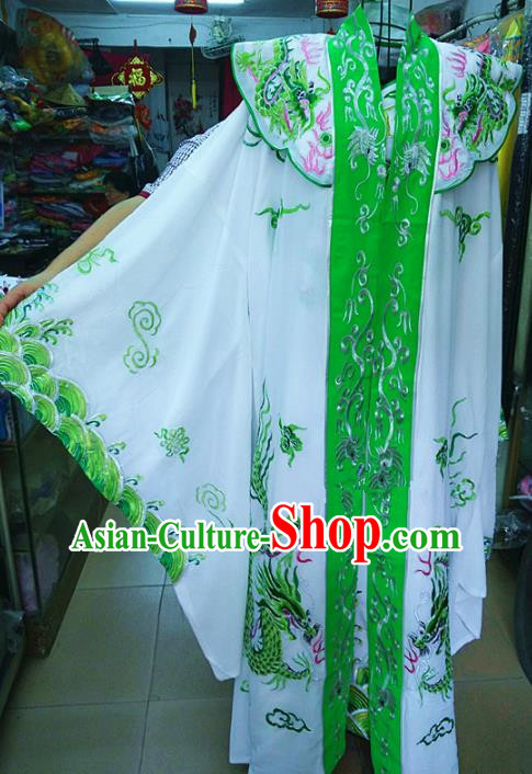 Chinese Traditional Beijing Opera Emperor Costume Peking Opera Niche Green Robe for Adults