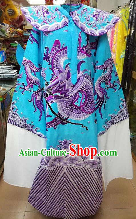 Chinese Traditional Beijing Opera Minister Costume Peking Opera Old Gentleman Blue Embroidered Robe for Adults