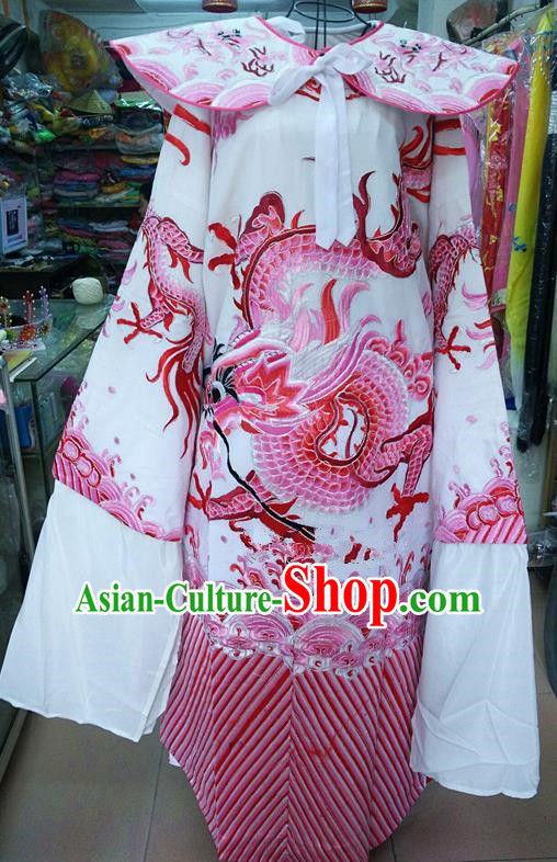 Chinese Traditional Beijing Opera Minister Costume Peking Opera Old Gentleman Pink Embroidered Robe for Adults