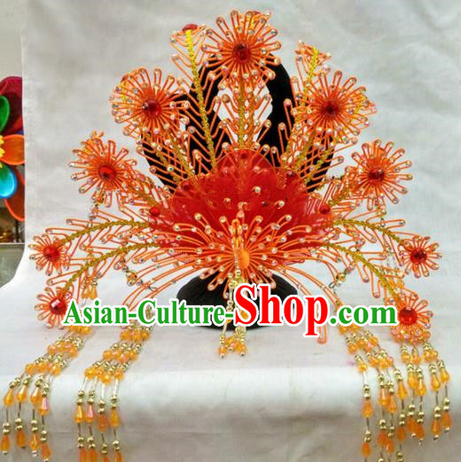 Chinese Traditional Beijing Opera Red Phoenix Coronet Princess Hair Accessories for Adults