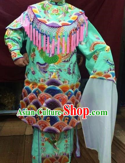 Chinese Traditional Beijing Opera Queen Green Water Sleeve Dress Peking Opera Actress Costume for Adults
