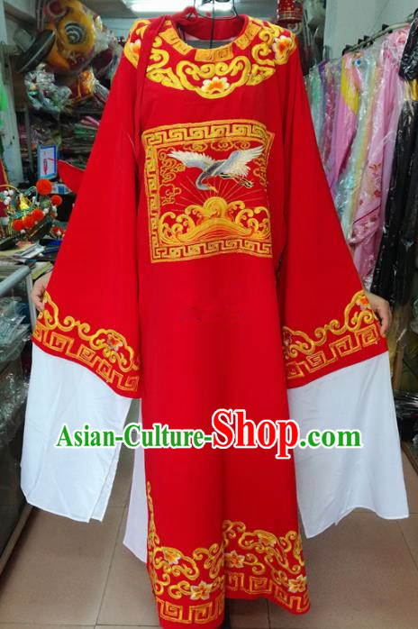 Chinese Traditional Beijing Opera Number One Scholar Costume Peking Opera Niche Red Embroidered Robe for Adults
