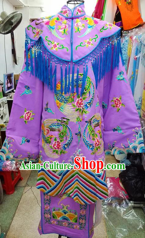 Chinese Traditional Beijing Opera Empress Lilac Embroidered Dress Peking Opera Actress Costume for Adults