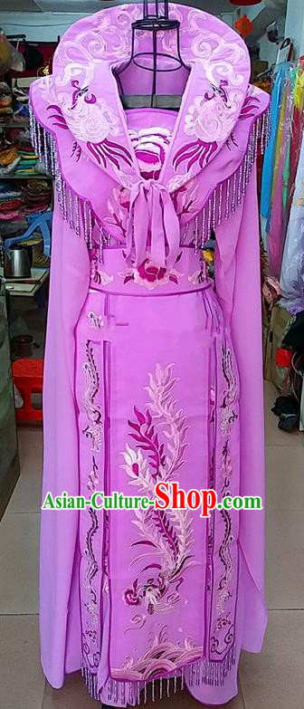 Chinese Traditional Beijing Opera Princess Lilac Embroidered Dress Peking Opera Actress Costume for Adults