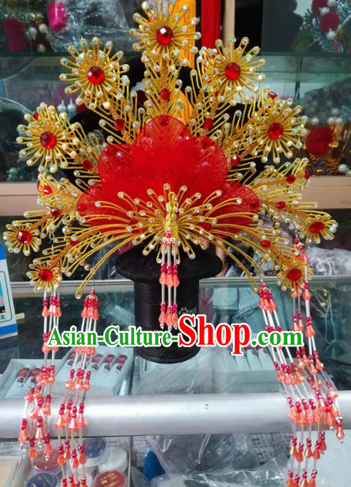 Chinese Traditional Beijing Opera Red Beads Tassel Phoenix Coronet Princess Hair Accessories for Adults
