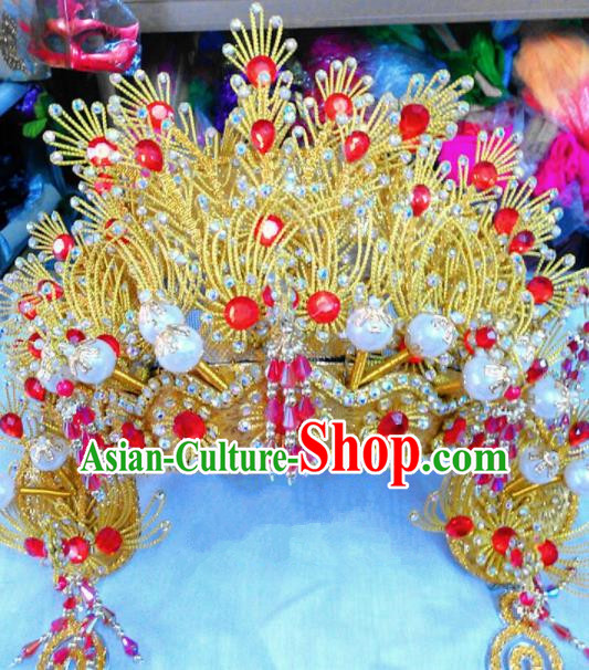 Chinese Traditional Beijing Opera Golden Phoenix Coronet Princess Hair Accessories for Adults