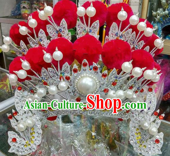 Chinese Traditional Beijing Opera Magic Warriors Red Venonat Phoenix Coronet Head Ornaments Hat Hair Accessories for Adults