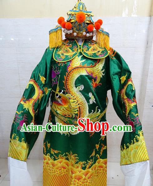 Chinese Traditional Beijing Opera Chancellor Green Embroidered Robe Peking Opera Old Men Costume for Adults