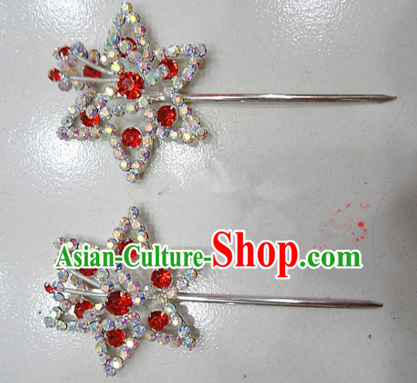 Chinese Traditional Beijing Opera Diva Red Crystal Hexagon Hairpins Princess Hair Clip Hair Accessories for Adults