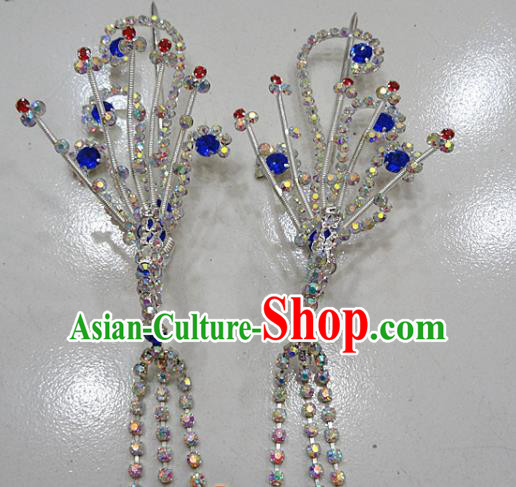 Chinese Traditional Beijing Opera Diva Royalblue Phoenix Hairpins Princess Crystal Tassel Hair Clip Hair Accessories for Adults