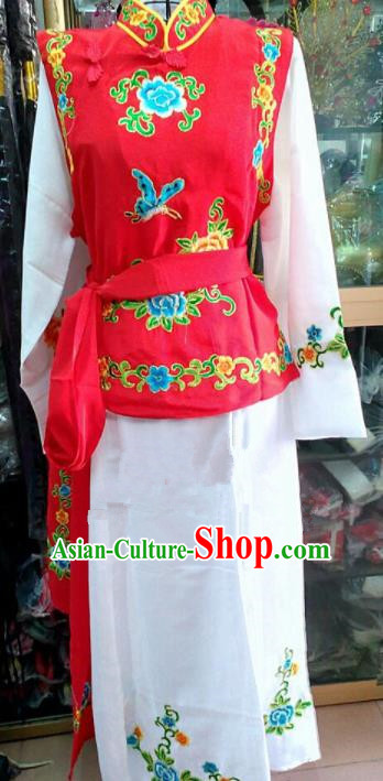 Chinese Traditional Beijing Opera Maidservants Red Dress Peking Opera Young Lady Costume for Adults