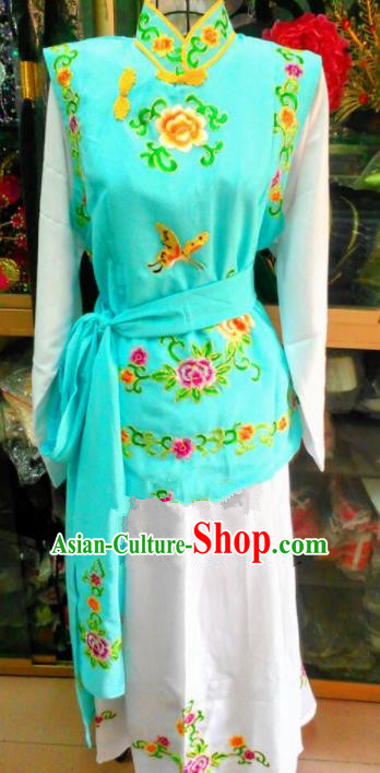 Chinese Traditional Beijing Opera Maidservants Green Dress Peking Opera Young Lady Costume for Adults