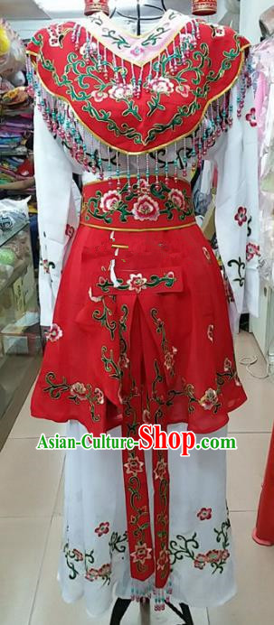 Chinese Traditional Beijing Opera Peri Red Dress Peking Opera Young Lady Costume for Adults