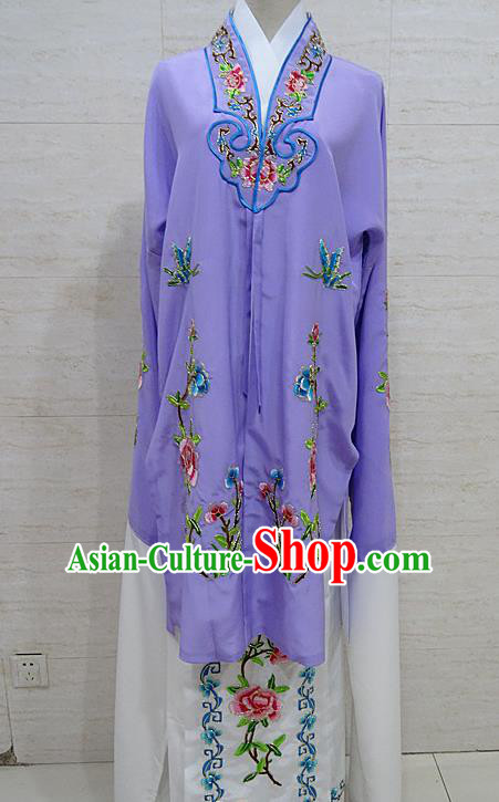 Chinese Traditional Beijing Opera Embroidered Peony Purple Dress Peking Opera Diva Costume for Adults