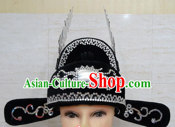 Chinese Traditional Beijing Opera Niche Black Hat Ancient Scholar Headwear for Adults