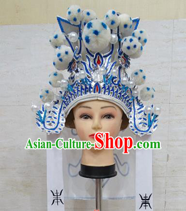 Chinese Traditional Beijing Opera Takefu White Hat Ancient General Helmet Headwear for Adults