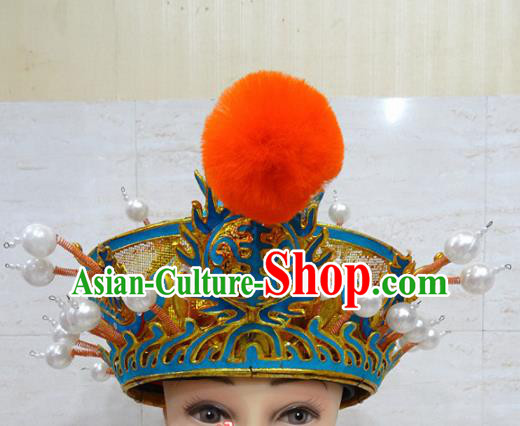 Chinese Traditional Beijing Opera Royal Highness Hat Ancient Prince Helmet Headwear for Adults