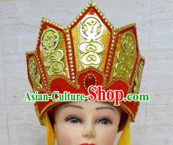 Chinese Traditional Beijing Opera Monk Hat Ancient Buddhism Headwear for Adults