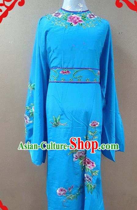 Professional Chinese Beijing Opera Niche Deep Blue Embroidered Peony Robe Traditional Peking Opera Scholar Costume for Adults