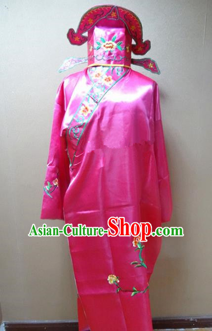 Professional Chinese Traditional Beijing Opera Niche Rosy Robe Ancient Scholar Embroidered Peony Costume for Adults