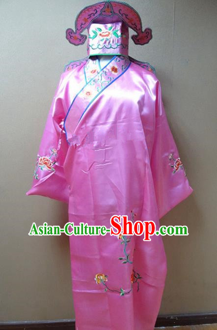 Professional Chinese Traditional Beijing Opera Niche Pink Robe Ancient Scholar Embroidered Peony Costume for Adults