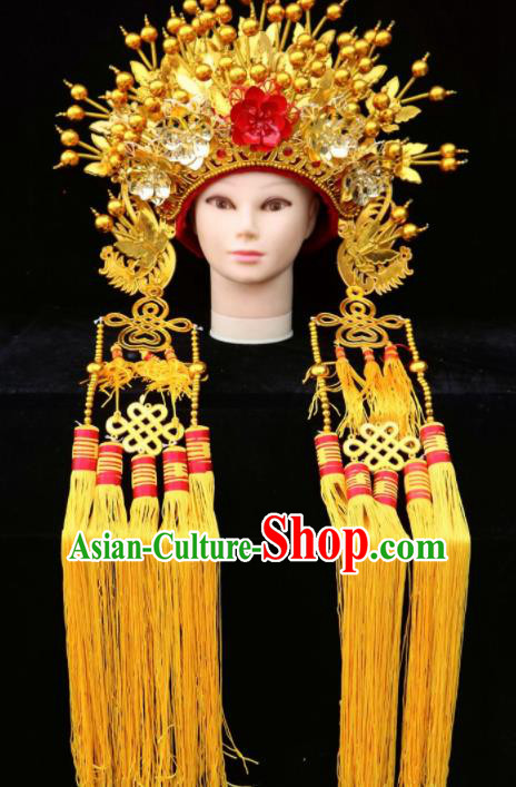 Chinese Traditional Beijing Opera Queen Hair Accessories Ancient Imperial Consort Golden Phoenix Coronet