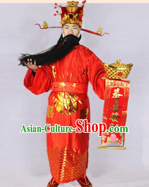 Chinese Traditional Beijing Opera Wealth God Costume and Headwear Complete set