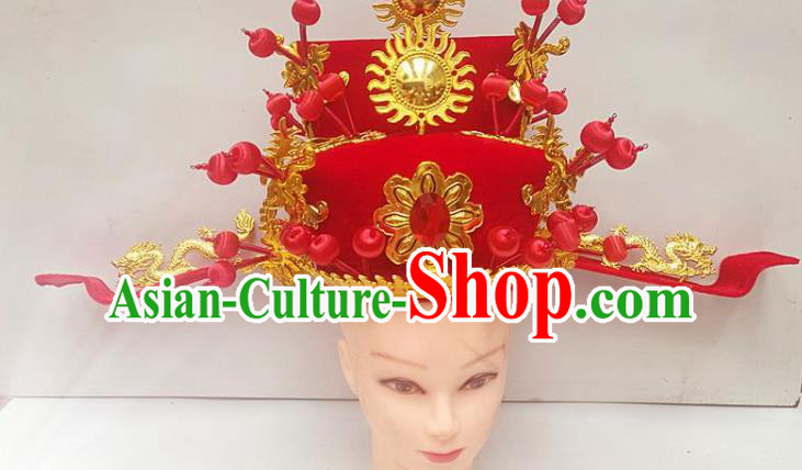 Chinese Traditional Beijing Opera Niche Headwear Peking Opera Number One Scholar Red Hat
