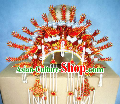 Chinese Traditional Beijing Opera Queen Hair Accessories Ancient Bride Red Phoenix Coronet