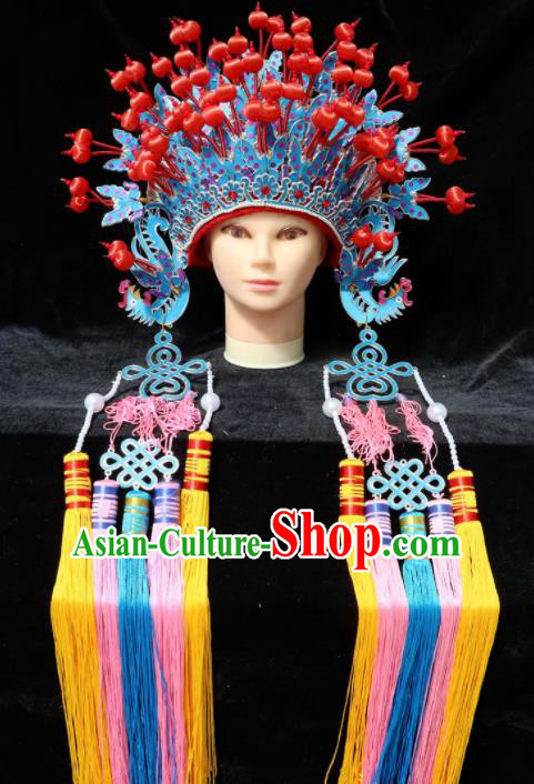 Chinese Traditional Beijing Opera Queen Hair Accessories Ancient Bride Blue Phoenix Coronet Headwear