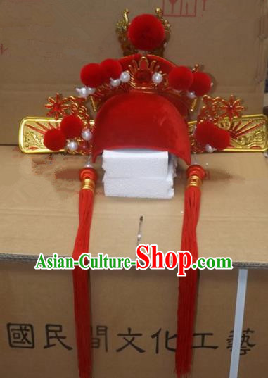 Chinese Traditional Beijing Opera Number One Scholar Headwear Ancient Bridegroom Red Tassel Hat