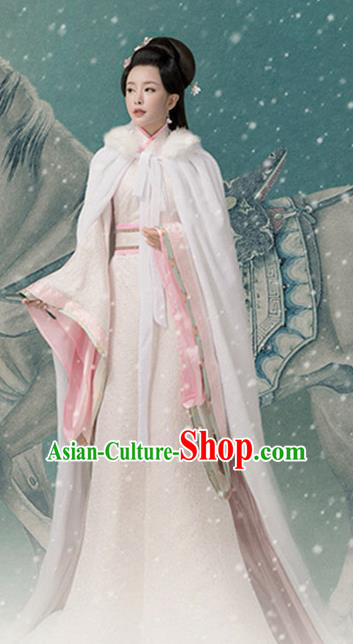 Chinese Ancient Drama Palace Lady Hanfu Dress Traditional Han Dynasty Imperial Consort Costume and Headpiece for Women