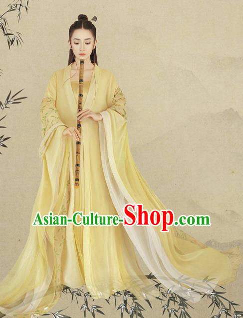 Chinese Ancient Drama Peri Yellow Hanfu Dress Tang Dynasty Princess Historical Costume Complete Set