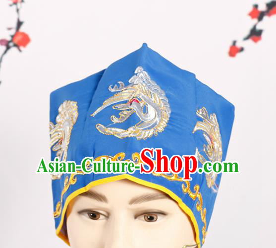 Chinese Traditional Beijing Opera Old Men Headwear Peking Opera Landlord Embroidered Crane Blue Hat