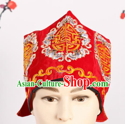 Chinese Traditional Beijing Opera Old Men Headwear Peking Opera Landlord Red Embroidered Hat