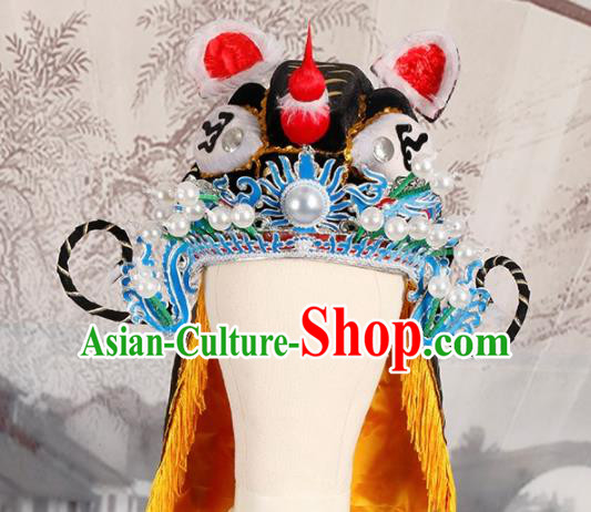 Chinese Traditional Beijing Opera Takefu Headwear Ancient Warrior Black Tiger Head Hat