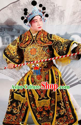 Chinese Traditional Beijing Opera Takefu Costume Ancient Warrior Black Clothing